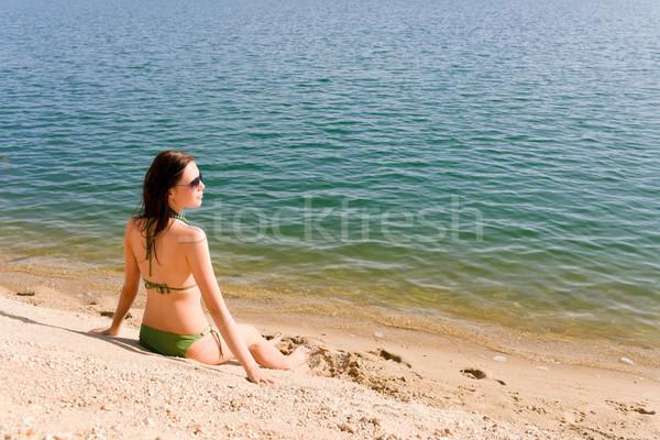 Summer woman in bikini alone on beach Stock photo © CandyboxPhoto