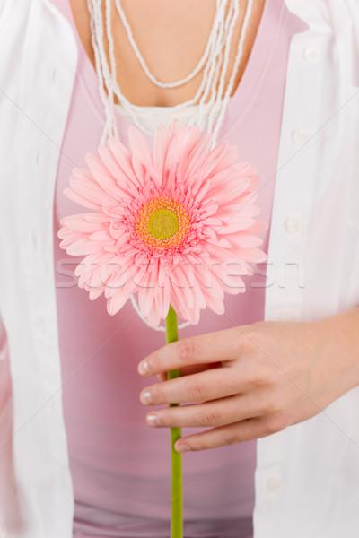 Pembe papatya çiçek kadın suçsuzluk Stok fotoğraf © CandyboxPhoto