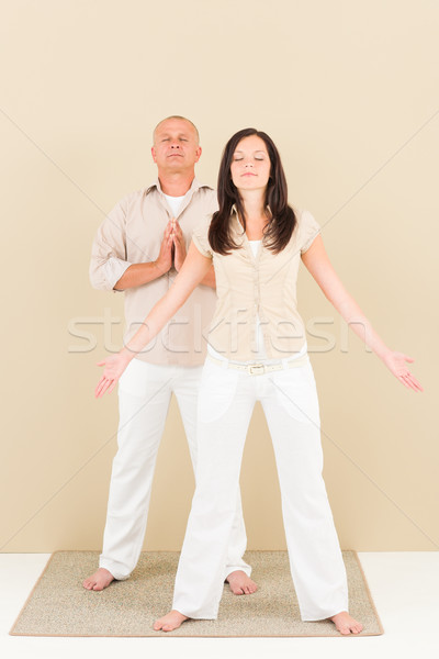 Casual business yoga pose businesspeople standing Stock photo © CandyboxPhoto