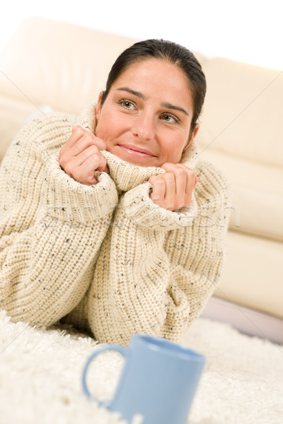 Winter portrait of happy woman and cup of coffee Stock photo © CandyboxPhoto