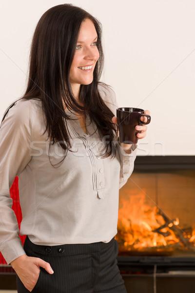 Tél otthon kandalló nő ital forró Stock fotó © CandyboxPhoto