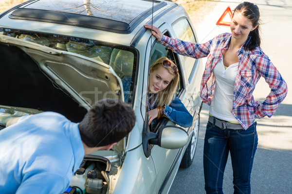 Car defect man helping two female friends Stock photo © CandyboxPhoto