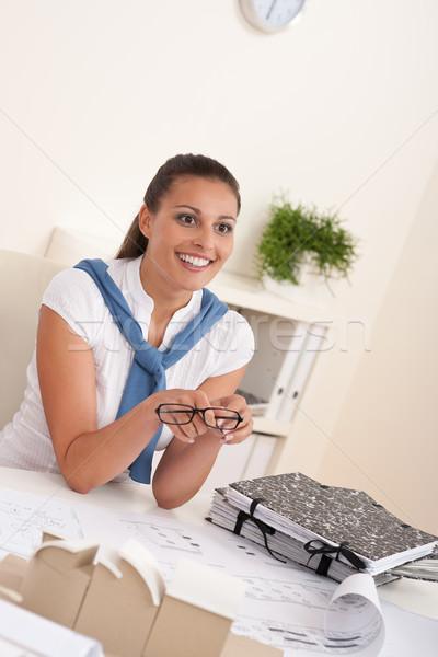 Foto stock: Jovem · feminino · arquiteto · sessão · escritório