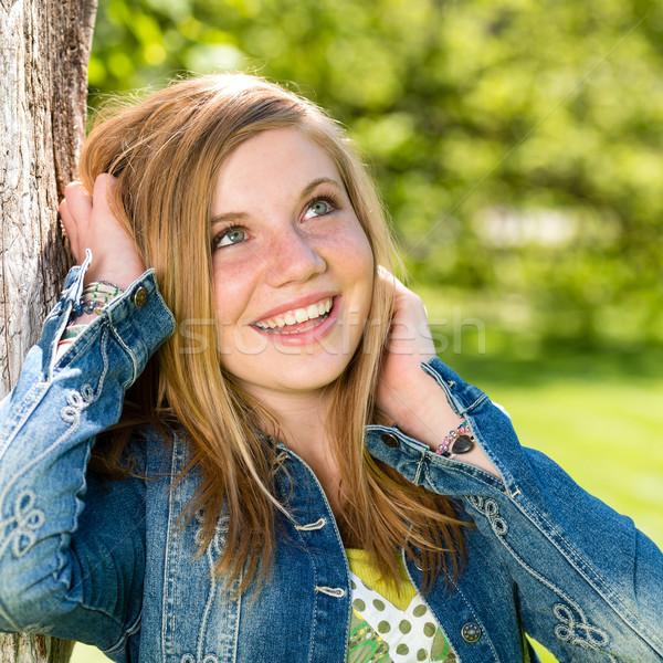 Lively smiling girl enjoying nature and sunshine  Stock photo © CandyboxPhoto