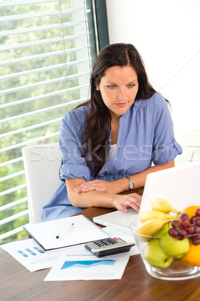 Young woman working laptop studying office using Stock photo © CandyboxPhoto