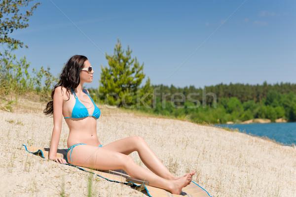 Foto stock: Verano · playa · mujer · azul · bikini · feliz