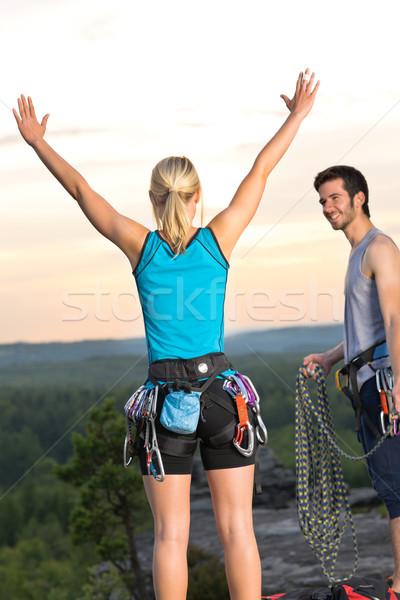 Hegymászás derűs felső naplemente aktív fiatal Stock fotó © CandyboxPhoto