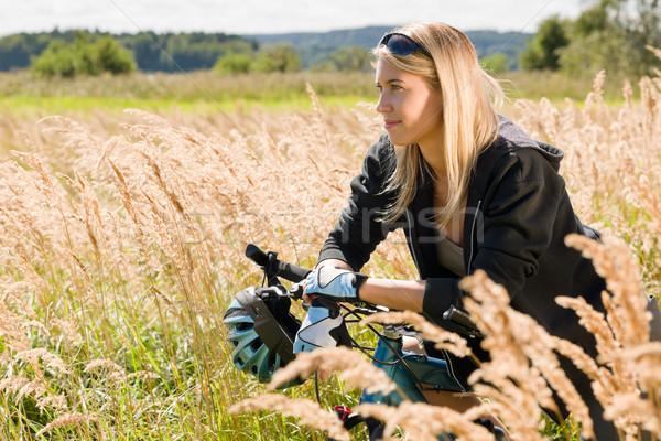 Горный велосипед Солнечный счастливым расслабиться Сток-фото © CandyboxPhoto
