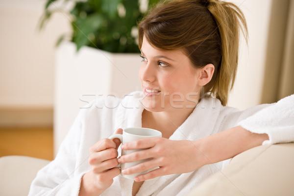 若い女性 白 バスローブ コーヒー ラウンジ リビングルーム ストックフォト © CandyboxPhoto