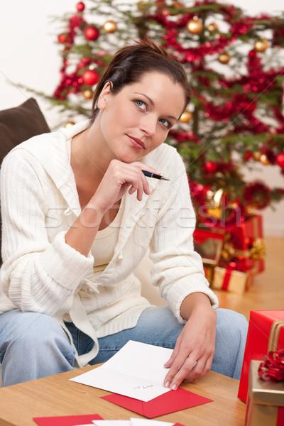 Atractivo morena escrito Navidad tarjetas árbol Foto stock © CandyboxPhoto