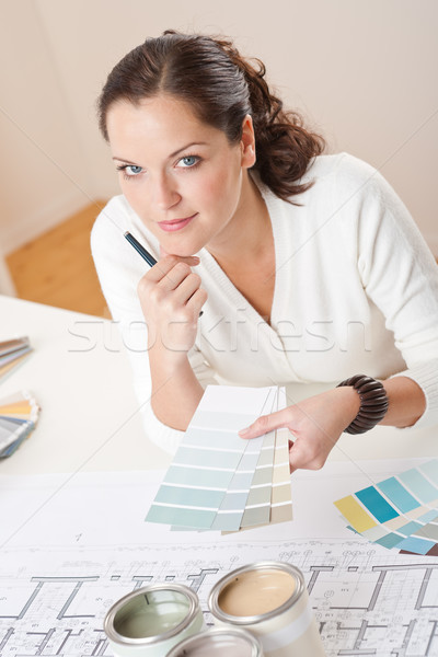 Genç kadın iç mimar çalışma ofis renk Stok fotoğraf © CandyboxPhoto