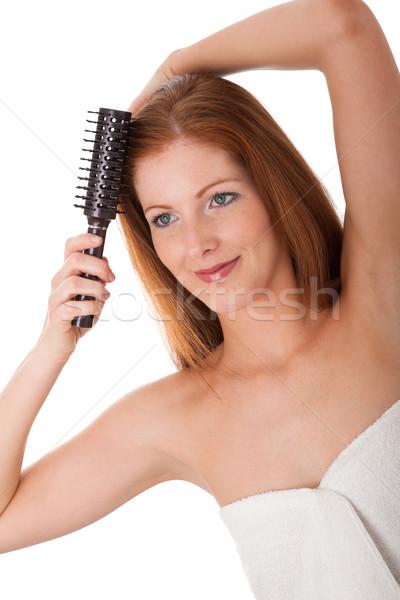 Test törődés fiatal nő haj fehér szépség Stock fotó © CandyboxPhoto