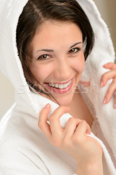 Derűs mosolygó nő fehér fürdőköpeny visel boldog Stock fotó © CandyboxPhoto
