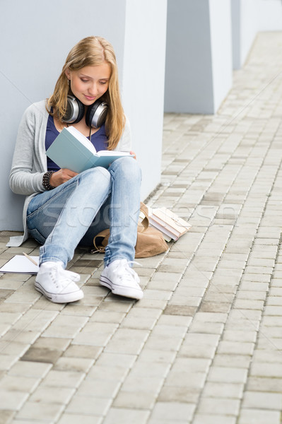 Teenage student girl study outdoor siting ground Stock photo © CandyboxPhoto