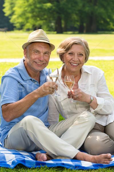 Stock photo: Happy senior couple drinking wine outdoors