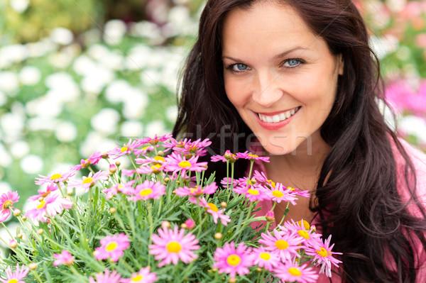Portré gyönyörű nő lila virágok kert bolt Stock fotó © CandyboxPhoto