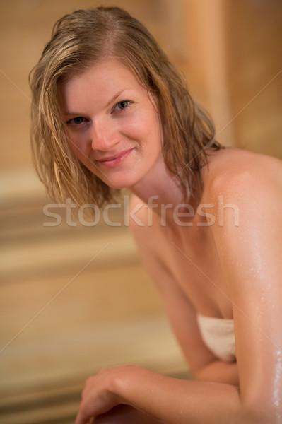 Kadın sauna gülen genç kadın güzellik portre Stok fotoğraf © CandyboxPhoto
