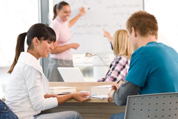 Escola secundária estudantes professor sala de aula estudar feliz Foto stock © CandyboxPhoto