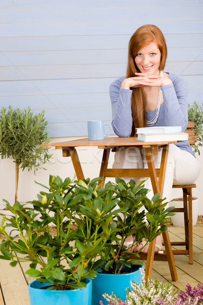 Summer terrace redhead woman relax in garden Stock photo © CandyboxPhoto
