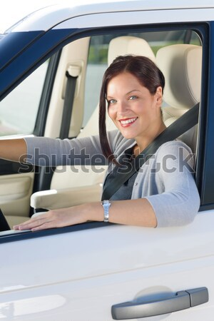 Executive woman manager sitting in car backseat Stock photo © CandyboxPhoto