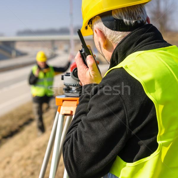測定 土地 道路 ヘルメット 男性 ストックフォト © CandyboxPhoto