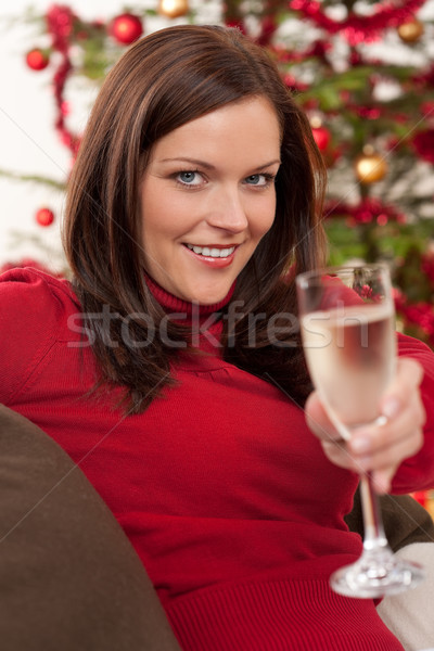 Attractive brown hair woman in front of Christmas tree Stock photo © CandyboxPhoto