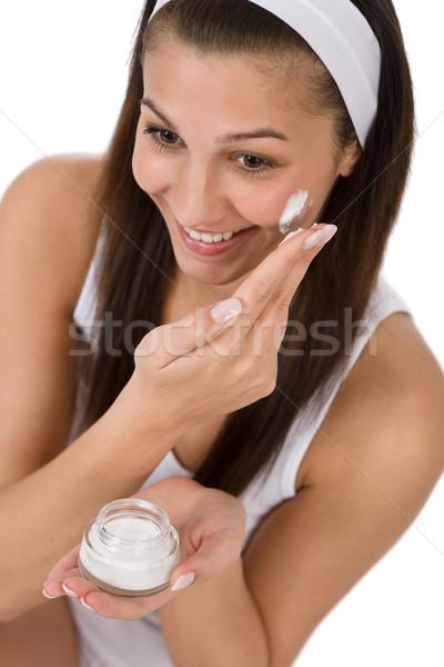 Szépség arcápolás fiatal nő hidratáló fehér boldog Stock fotó © CandyboxPhoto