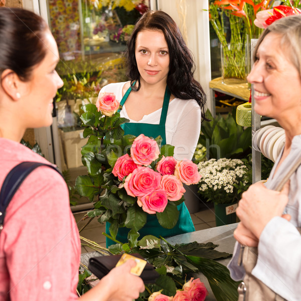 Women customers buying card flower shop pink Stock photo © CandyboxPhoto