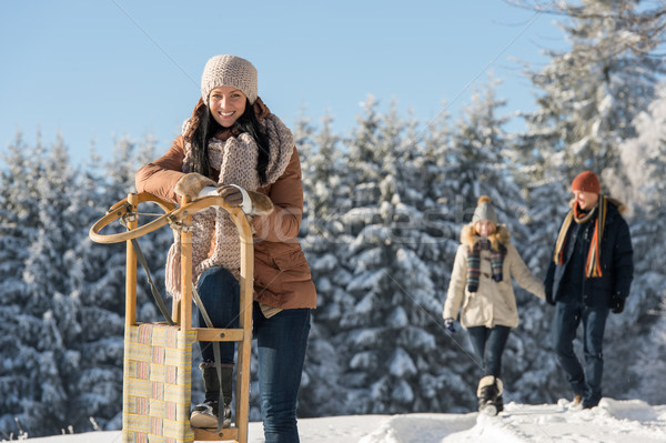 Young woman sunny winter lean against sledge Stock photo © CandyboxPhoto