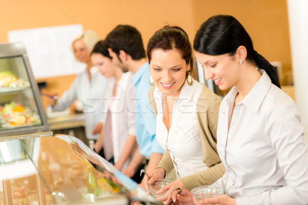 Cafeteria lunch two office woman choose food Stock photo © CandyboxPhoto