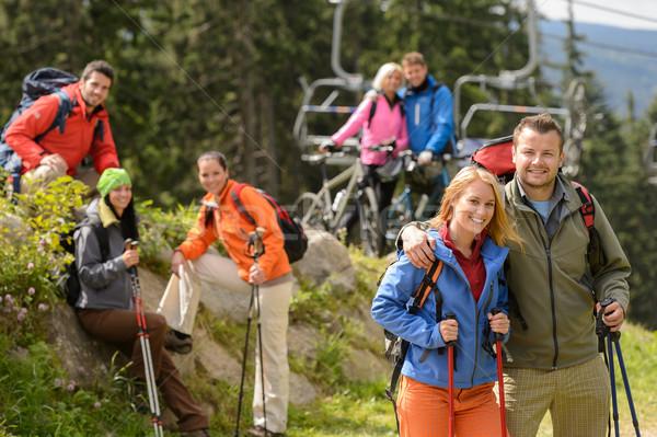 Escursionisti ciclisti sorridere posa Foto d'archivio © CandyboxPhoto