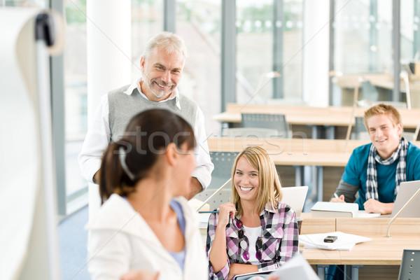Lise üç Öğrenciler olgun profesör sınıf Stok fotoğraf © CandyboxPhoto