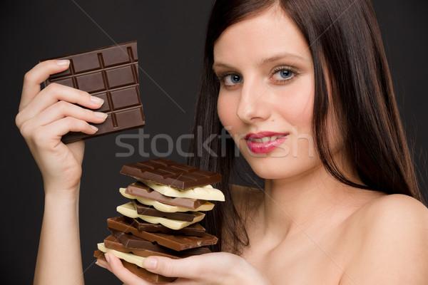 ストックフォト: チョコレート · 肖像 · 健康 · 女性 · 楽しむ · お菓子