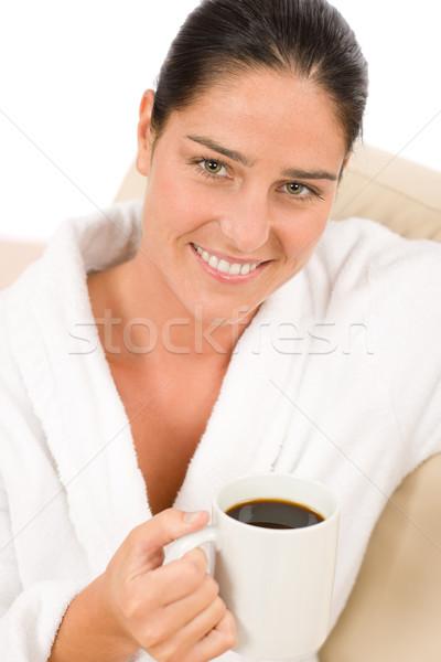 Aantrekkelijke vrouw witte badjas koffie salon gelukkig Stockfoto © CandyboxPhoto