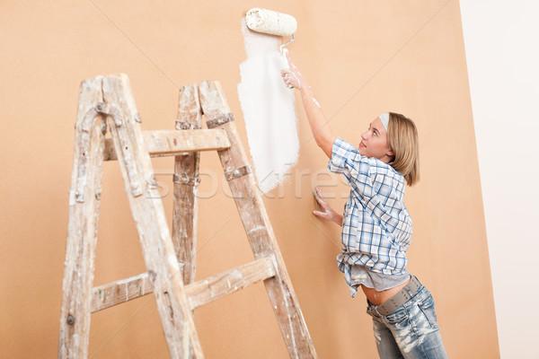 Melhoramento da casa mulher pintura parede pintar Foto stock © CandyboxPhoto