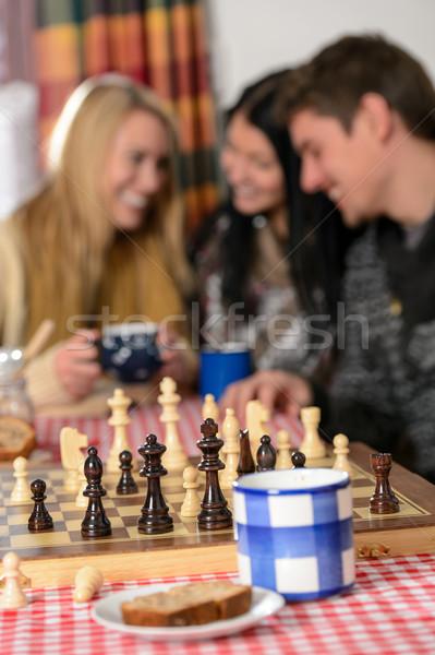 Jovens jogar xadrez inverno casa de campo Foto stock © CandyboxPhoto