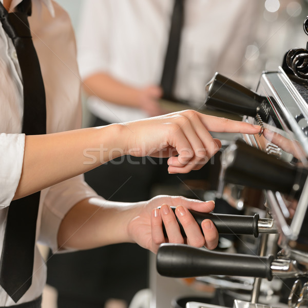 Waitress operating espresso machine coffee house Stock photo © CandyboxPhoto