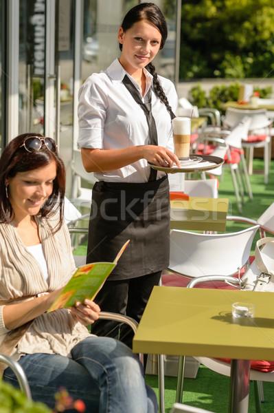 Woman checking menu waitress bringing order coffee Stock photo © CandyboxPhoto