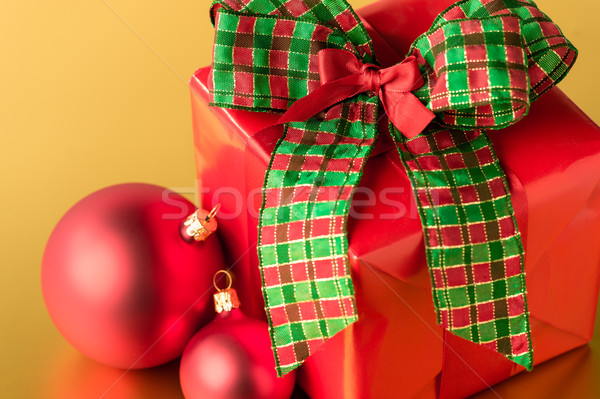 Red Christmas present and decoration gift card Stock photo © CandyboxPhoto