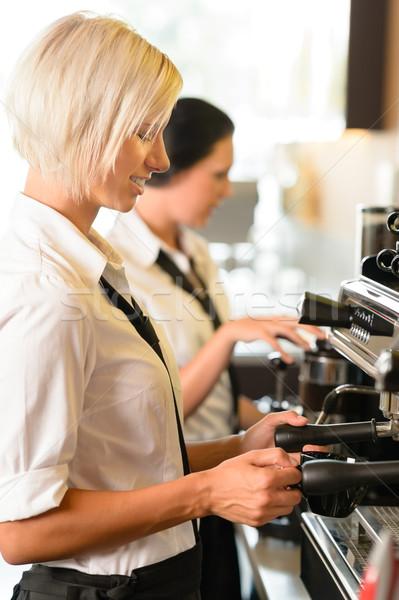Trabajo Servicio mujer sonriente café expreso Foto stock © CandyboxPhoto