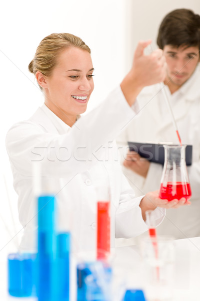 Tudósok laboratórium teszt oltás vírus diák Stock fotó © CandyboxPhoto