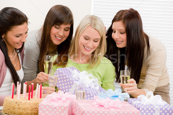 Stock photo: Birthday party - happy woman getting present