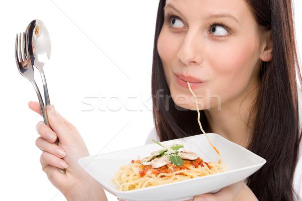 Stok fotoğraf: İtalyan · gıda · portre · kadın · yemek · spagetti · sos