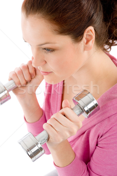 Fitness happy woman exercise dumbbell Stock photo © CandyboxPhoto