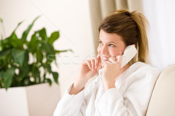 幸せ 女性 白 バスローブ 電話 ホーム ストックフォト © CandyboxPhoto