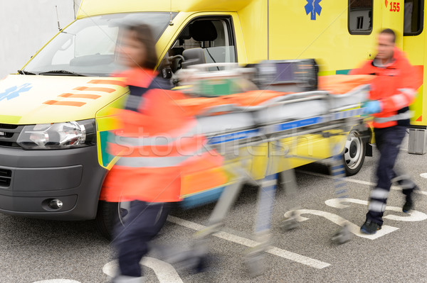 Running blurry paramedics team with stretcher Stock photo © CandyboxPhoto