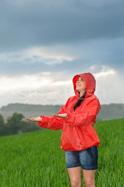 気楽な 若い女の子 雨の 天気 レインコート ストックフォト © CandyboxPhoto