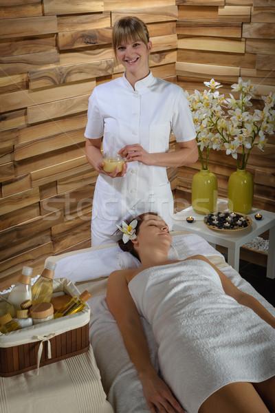 женщину массажист роскошь Spa комнату массаж Сток-фото © CandyboxPhoto