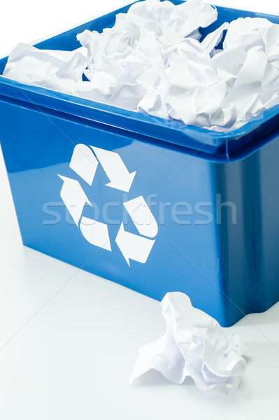 Blue recycling box with paper waste bin Stock photo © CandyboxPhoto