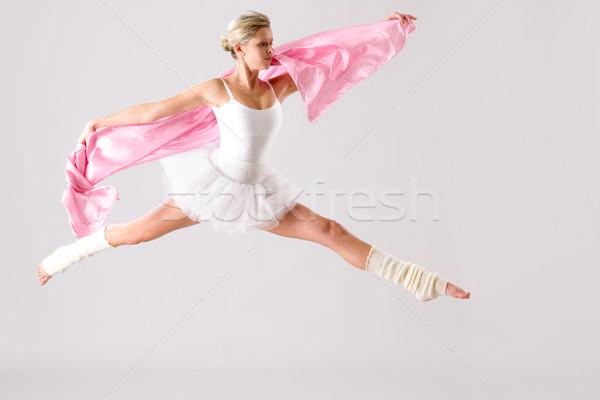 Balett-táncos ugrik testmozgás stúdió nő ballerina Stock fotó © CandyboxPhoto